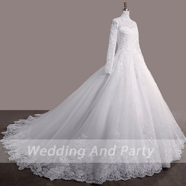 Elegant princess Bride WEDDING gown LONG SLEEVE PLUS SIZE lace up Celebrity Ball Gown Muslim wedding DRESS vestido De Noiva 3