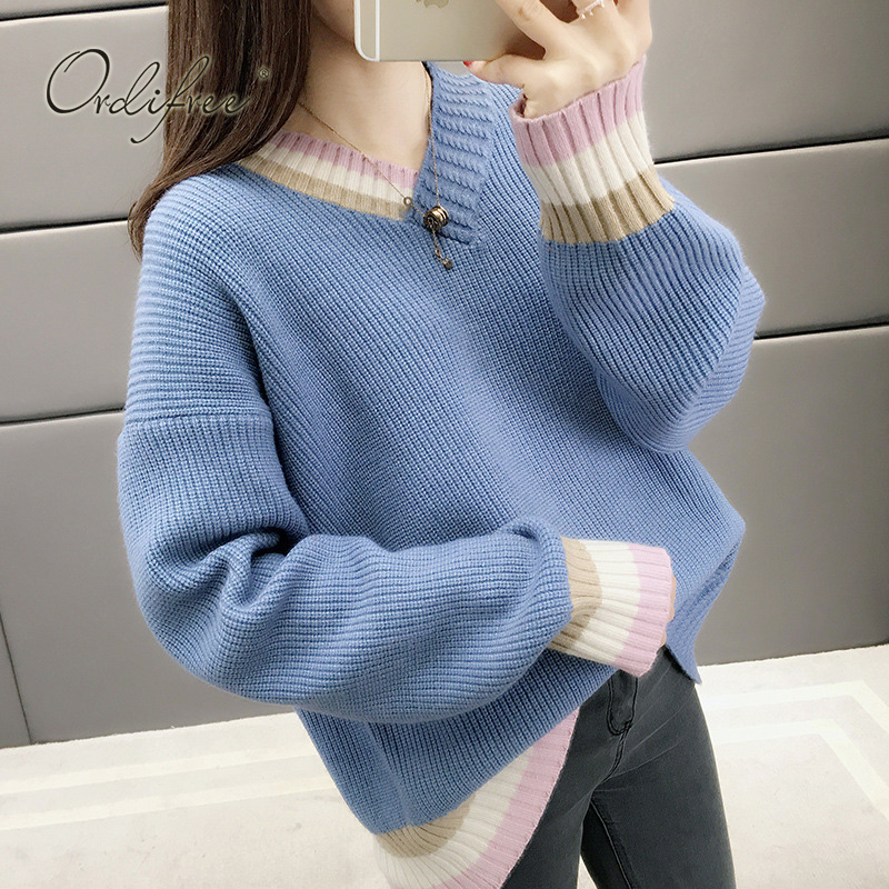 Ordifree 2019 New Autumn Winter Women Knitted Sweater Pullover Blue Casual Female Loose Sweater Jumper Pull Femme