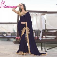 Черные марокканские Длинные вечерние платья 2020 золотые кружевные