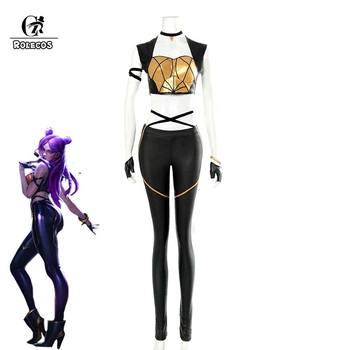 ROLECOS LOL KDA Cosplay Costume KDA Kaisa Cosplay Costume Game Kaisa Outfit Fullsets K/DA Group LOL Character Cos with Gloves