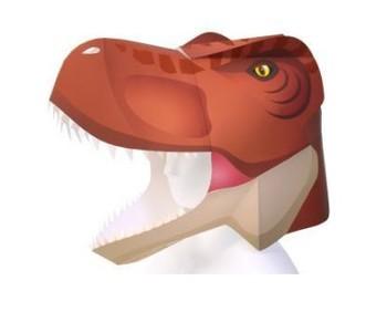Hood Tyrannosaurus masquerade hood 3D paper model toy DIY handmade Cosplay hood фото