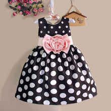 Hot Sale Christmas Super Flower girls dresses for party and wedding Dot print Pr