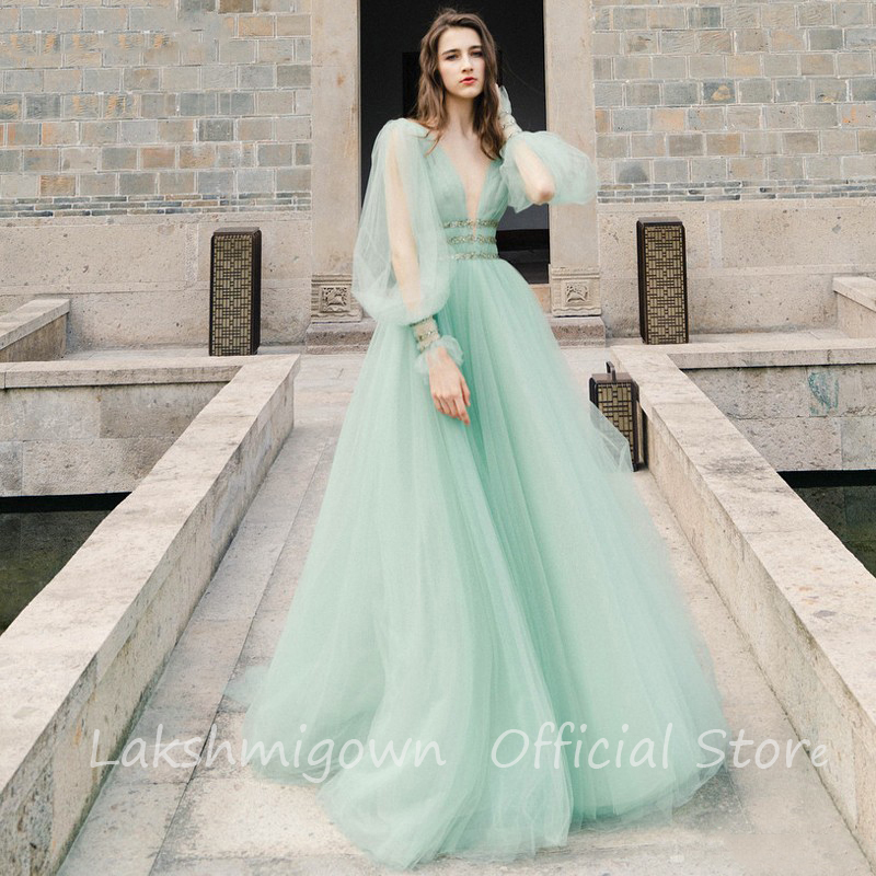 Mint Green Wedding Dress Long Puff Sleeve Deep V Neck Open Back Crystals  Beadings Waist Fancy Tulle Bridal Gowns Abito Da Sposa