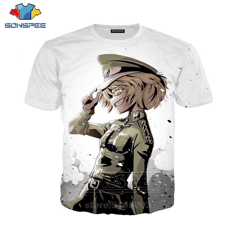 Youjo Senki Saga of Tanya the Evil T Shirt Fashion 3D Print Women Men Anime T-Shirt Hip Hop Sportswear Tops O Neck Pullover C115(China)