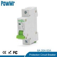 6A 20A 63A MCB miniaturowe zabezpieczenie przed przeciążeniem zabezpieczenie przed zwarciem przerywacz 4.5KA 110V230V 400VAC do użytku domowego