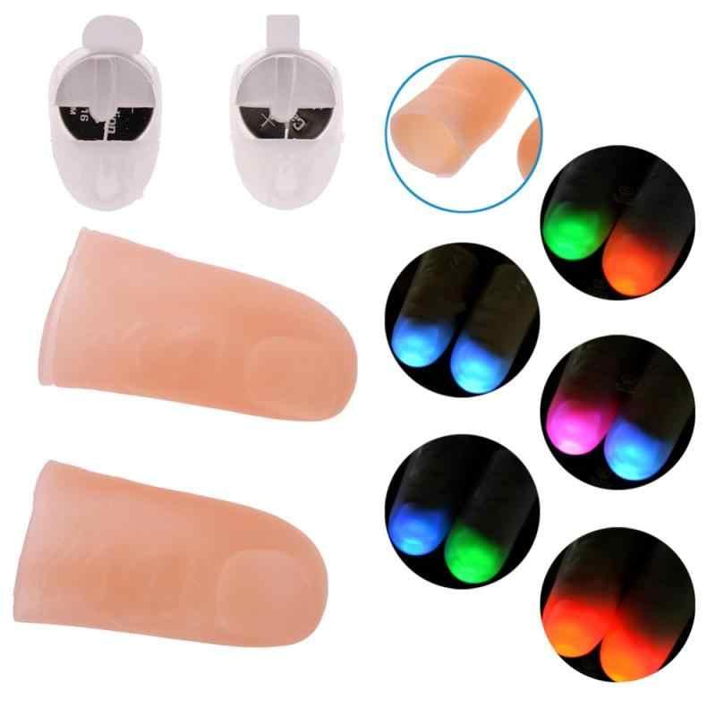 2 Pcs Magic LED Light Berkedip Jari Trik Alat Peraga Anak-anak Luar Biasa Fantastis Glow Mainan Anak Bercahaya Hadiah Light Up Glow ibu Jari