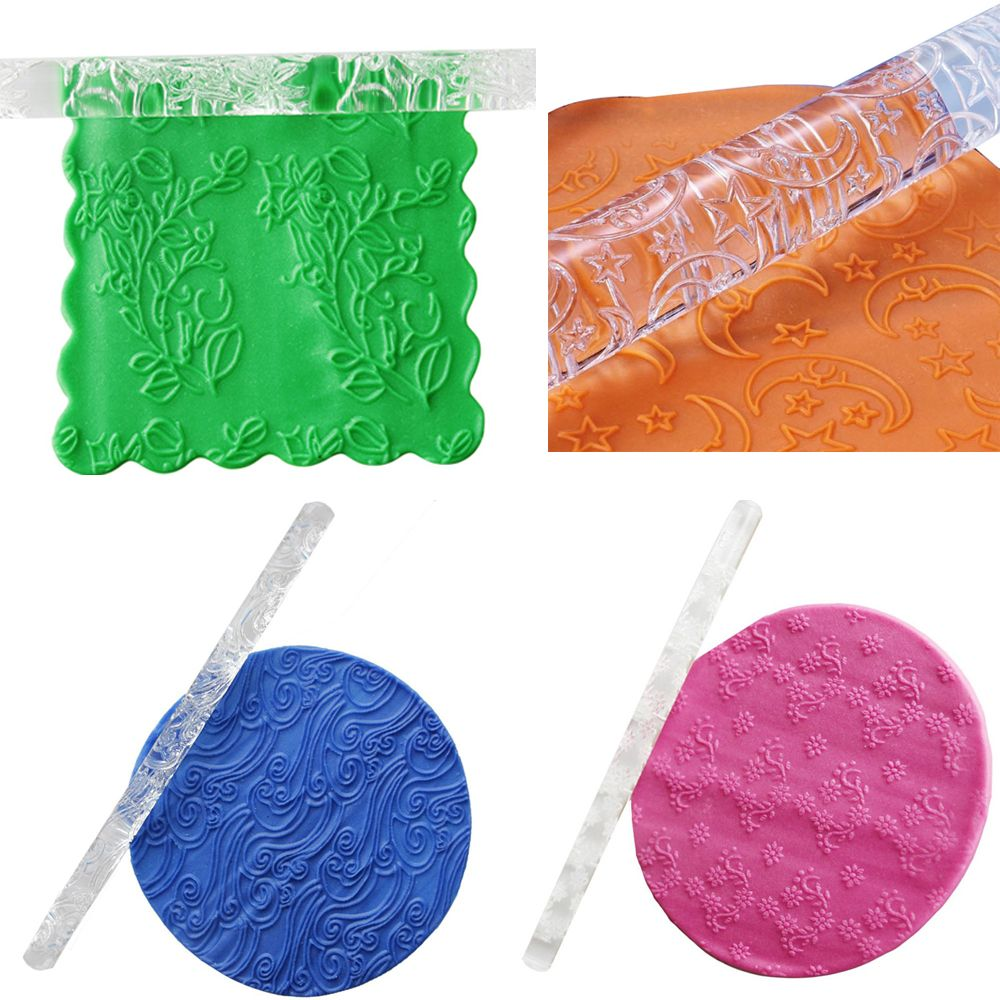1PC Food-grade Acrylic Carved Embossing Rolling Pin for Decorating Fondant Cake/Cookies