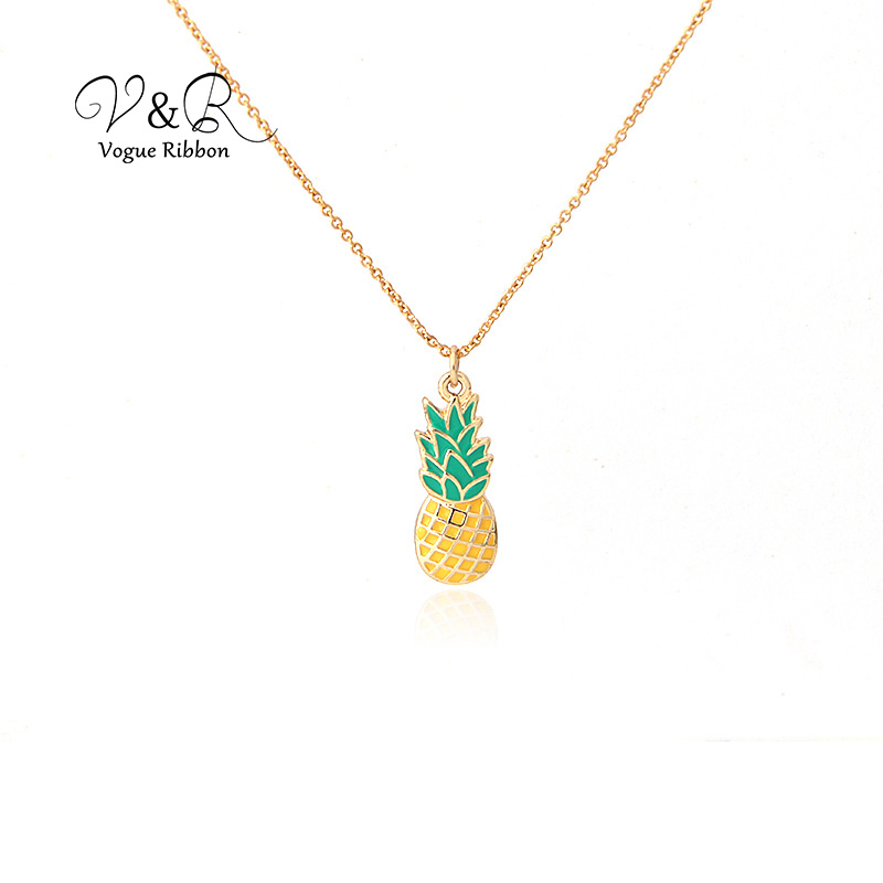 Imitation gold plated pendant necklace, cute epoxy pineapple pendant, fashion jewelry for girl  (1)