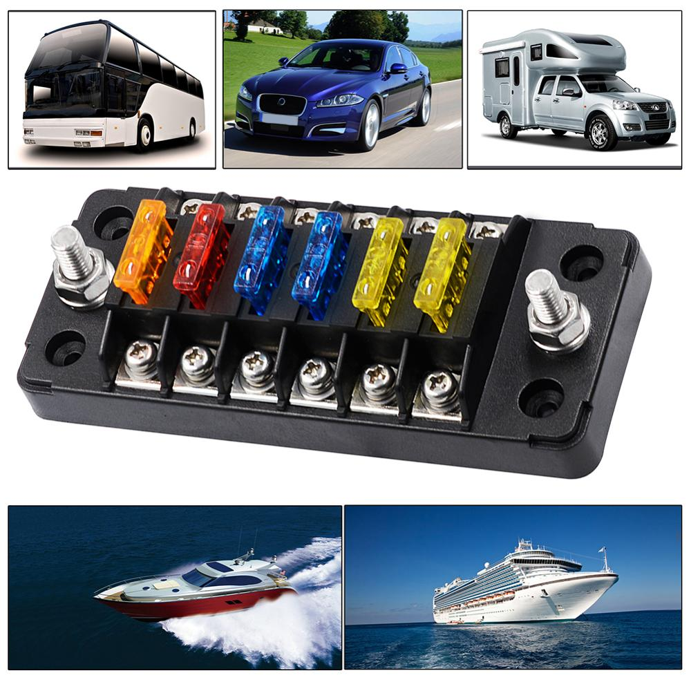 6 Way Blade Fuse Box with LED Light Indication /& Protection Cover Holder Standard Circuit Fuse Holder Box Block for Car Boat Marine Trike Car Truck Vehicle SUV Yacht RV 12-24V 6-circ W//Cover Neg