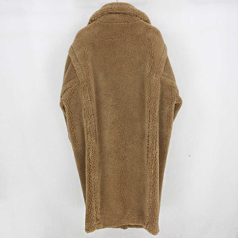 Fur Real De Longo Casaco de Inverno Mulheres Jaqueta de 100% De Teor De Lã Tecido Tecido Grosso Quente Solto Oversize Outerwear Streetwear Cozy de Pelúcia