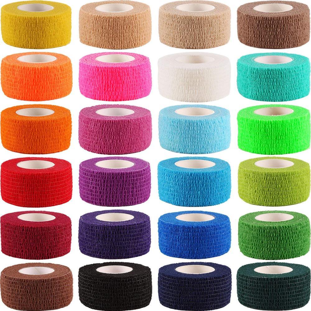 12 Rolls spor kendinden yapışkanlı bant Elastoplast yapıştırıcı Wrap yapışkanlı bandaj ilk yardım bandı evcil hayvan bandı 2.5cm * 4.5m rastgele renk