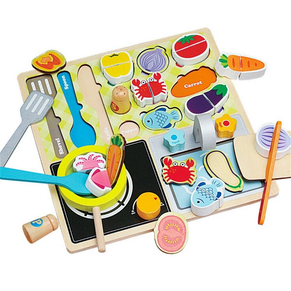 Jouets de cuisine en bois pour enfants jouets Puzzle jouet éducatif pour enfants bébé
