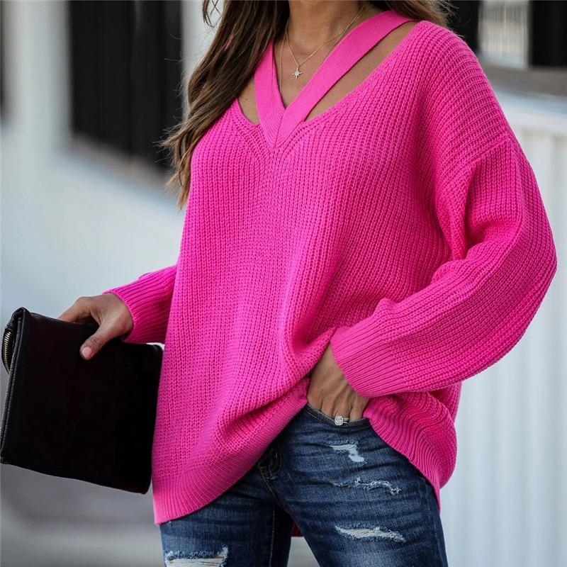 Fitshinling, suéteres pulover Casual con cuello en V para mujer, suéteres de punto Boho para vacaciones, suéter de punto de gran tamaño de manga larga, Jersey sólido, Top de invierno nuevo