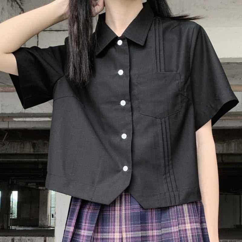Bluz kadın gömlek kısa kollu kırpma üst okul üniforması Jk Kawaii taze kız katı pileli zarif tiki tarzı tüm maç yeni