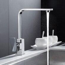 โครเมี่ยมสแควร์ก๊อกน้ำห้องครัวอ่างล้างจาน MONO Bloc เดี่ยวหมุนทองเหลืองร้อนเย็นอ่างล้างหน้าก๊อกน้ำอ่างล้างจานก๊อกน้ำ