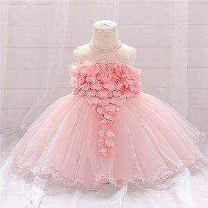 Детское кружевное платье с аппликацией в виде сердечек, платье для крещения, вечерние платья принцессы для новорожденных и детей на первый ...