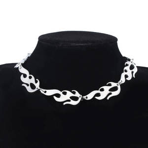 Pendant Necklace Jewelry-Accessories Rock-Chain Harajuku Punk-Style Flame Streetwear
