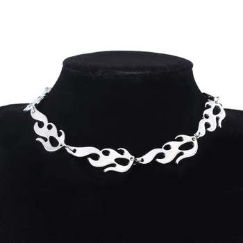 Harajuku Streetwear Flame Unisex Choker Necklace Punk Style Gold Black Pendant Necklace Rock Chain Jewelry Accessories black metal chain fringe choker necklace