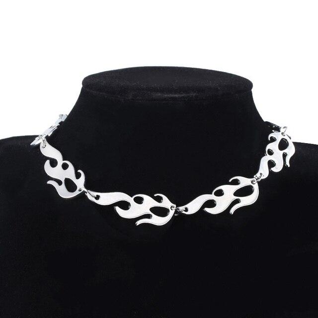 Harajuku Streetwear flamme unisexe collier ras du cou Style Punk or noir pendentif collier Rock chaîne bijoux accessoires