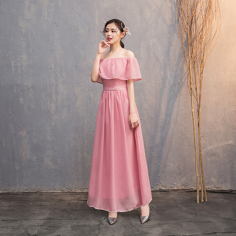 Boat Neck Ruffles Pink Bridesmaid Dress Long Sleeveless Guest Wedding Party Dress Sexy Prom Simple Dress Prom Azul Royal Vestido