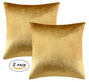 2 paket altın dekoratif yastıklar kapakları çekyat kanepe Modern lüks kadife ev atmak yastıklar kapakları gümüş yeşil