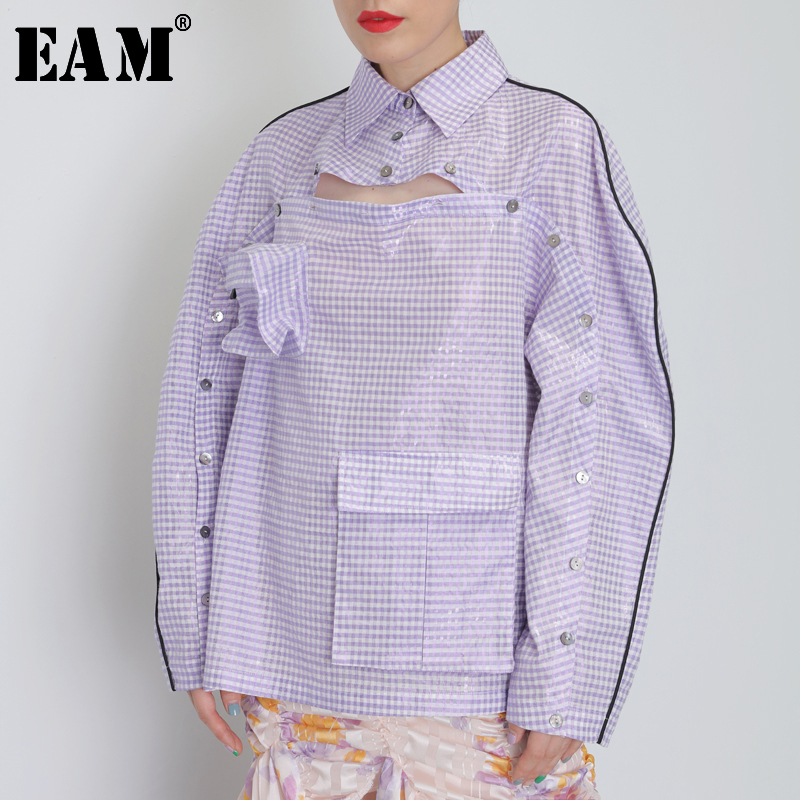 [EAM] Women Button Ways Wear Big Size Plaid Blouse New Lapel Long Sleeve Loose Fit Shirt Fashion Tide Spring Autumn 2020 JY077