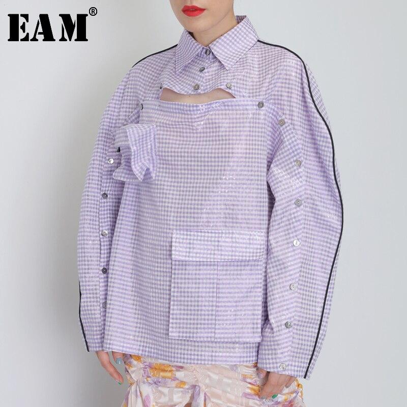 [EAM] Women Button Ways Wear Big Size Plaid Blouse New Lapel Long Sleeve Loose Fit Shirt Fashion Tide Spring Autumn 2020 JY077