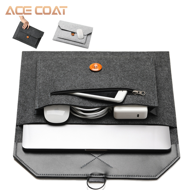 ACECOAT with Handle & Pockets for Macbook Air /pro 15.4 Retina <font><b>13.3</b></font> Inch / macbook <font><b>Laptop</b></font> Sleeve Case <font><b>Bag</b></font> Air 13 Case Wool Felt image
