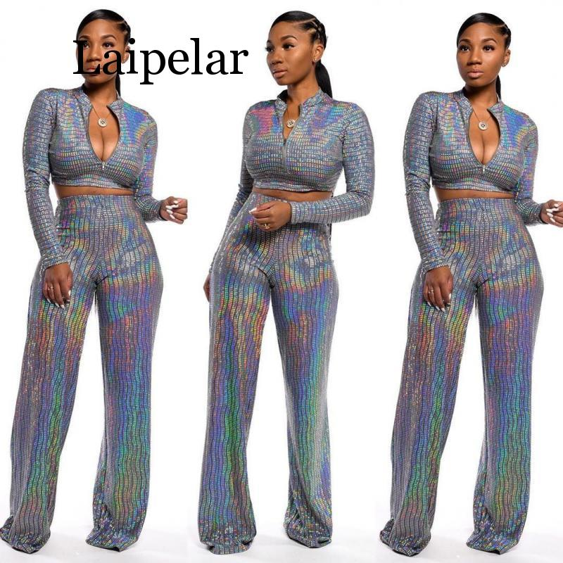 New shiny 2 piece set women full sleeve crop top and wide leg pants two piece set high street sparkly outfit