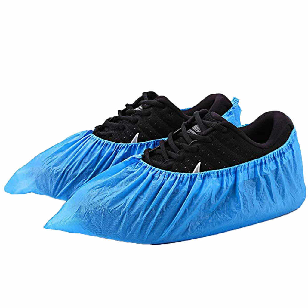 100 Pack (50 paires) couvre-chaussures jetables imperméables couvre-chaussures et bottes de pluie en caoutchouc antidérapant couvre-chaussures de pluie