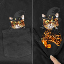 Plstar cosmos t shirt summer pocket halloween cat printed men