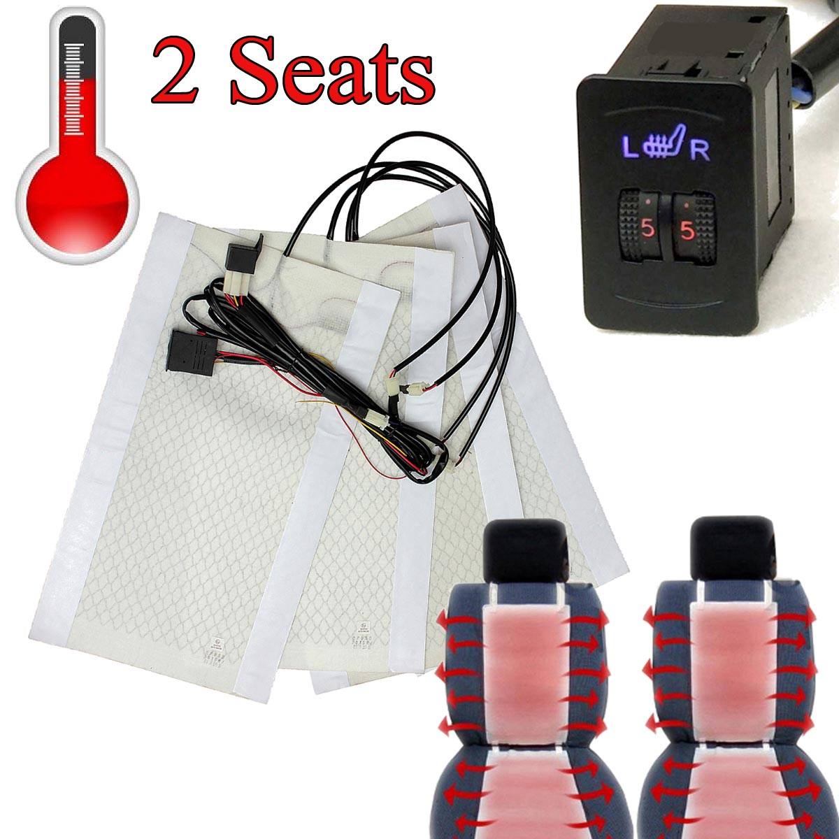 2 Seats 4 Pads Universal  Heated Seat Heater 12V Pads 2 Dial 5 Level Switch Winter Warmer Seat Covers 2/5 Level