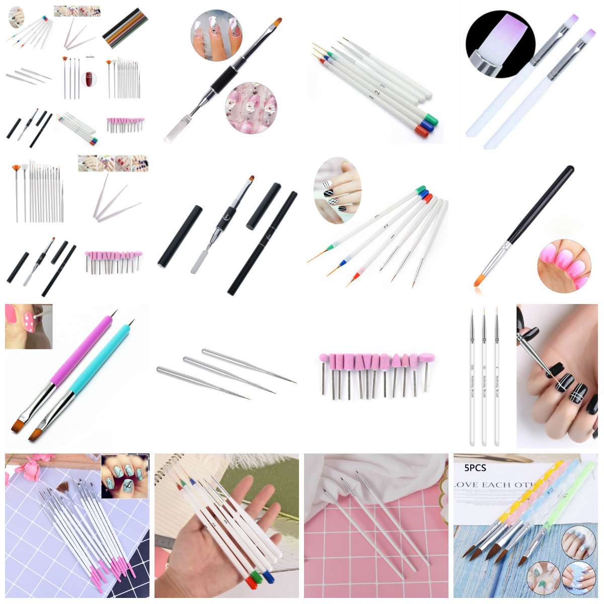 12PCS/5/3/1PCS Nail Art Liner Painting Brush Rhinestones Handle DIY UV Gel Acrylic Tips Grid Stripes Drawing Pen Manicure Tools