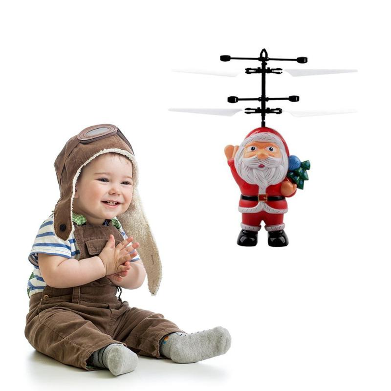 LED Aircraft Toy Santa Clasu Hand Induction USB Helicopter Child Xmas Gifts With Colorful LED Lights Beautiful & Popular Toys