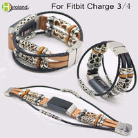 Pulseira de couro genuíno para fitbit charge 3, pulseira de substituição ajustável, pulseira retrô para fitbit charge 4, pulseira inteligente