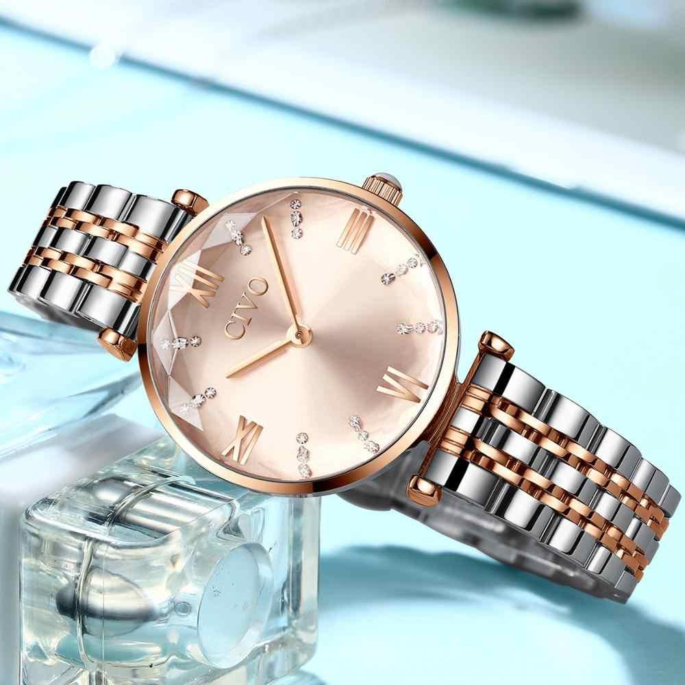 CIVO יוקרה קריסטל שעון נשים עמיד למים עלה זהב פלדת רצועת גבירותיי יד שעונים למעלה מותג צמיד שעון Relogio Feminino