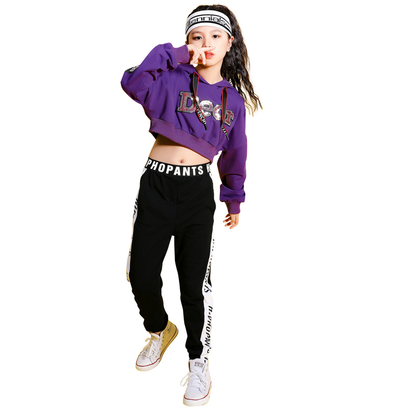 Kids Purple Hip Hop Clothing Cropped Hoodie Sweatshirt Shirt Top Running Casual Pants For Girls Ballroom Dance Clothes Costumes