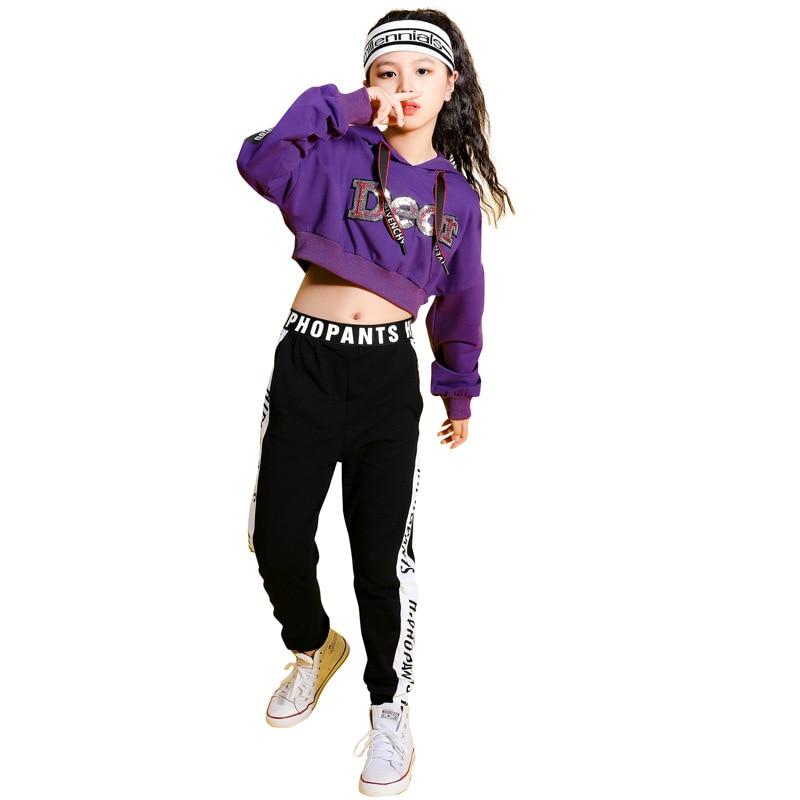 Kids Purple Hip Hop Clothing Cropped Hoodie Sweatshirt Shirt Top Running Casual Pants For Girls Ballroom Dance Clothes Costumes