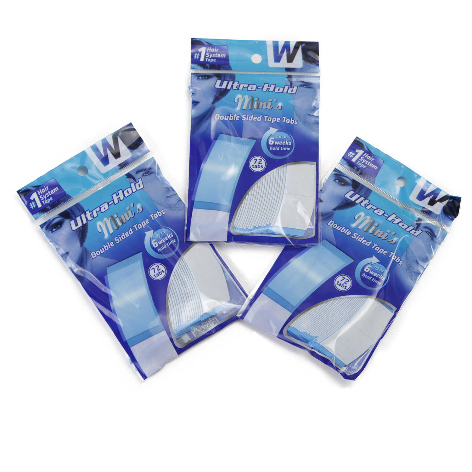 MW Double Side Tape Ultra Hold Minis Adhesive Tape Strips Pieces For Lace Wigs & Toupees 72 Tabs 0.8*3.1 Inch