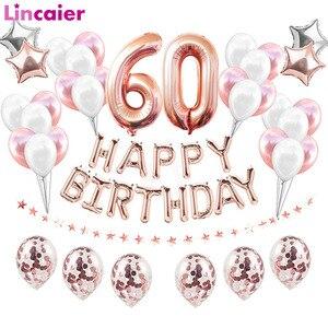 38 шт./компл. 60-летние шары на день рождения, украшения на день рождения для взрослых, баллон с номером из гелиевой фольги