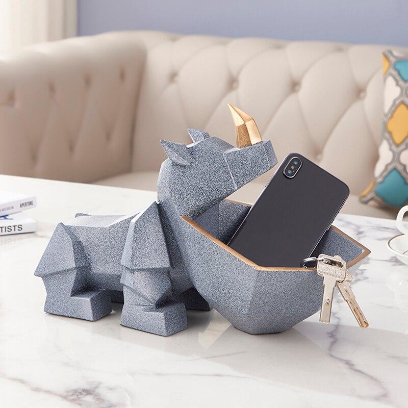 3D Rhinoceros Figurine Miniature Statue Home Decoration Sculpture Living Room Table Decor Just6F