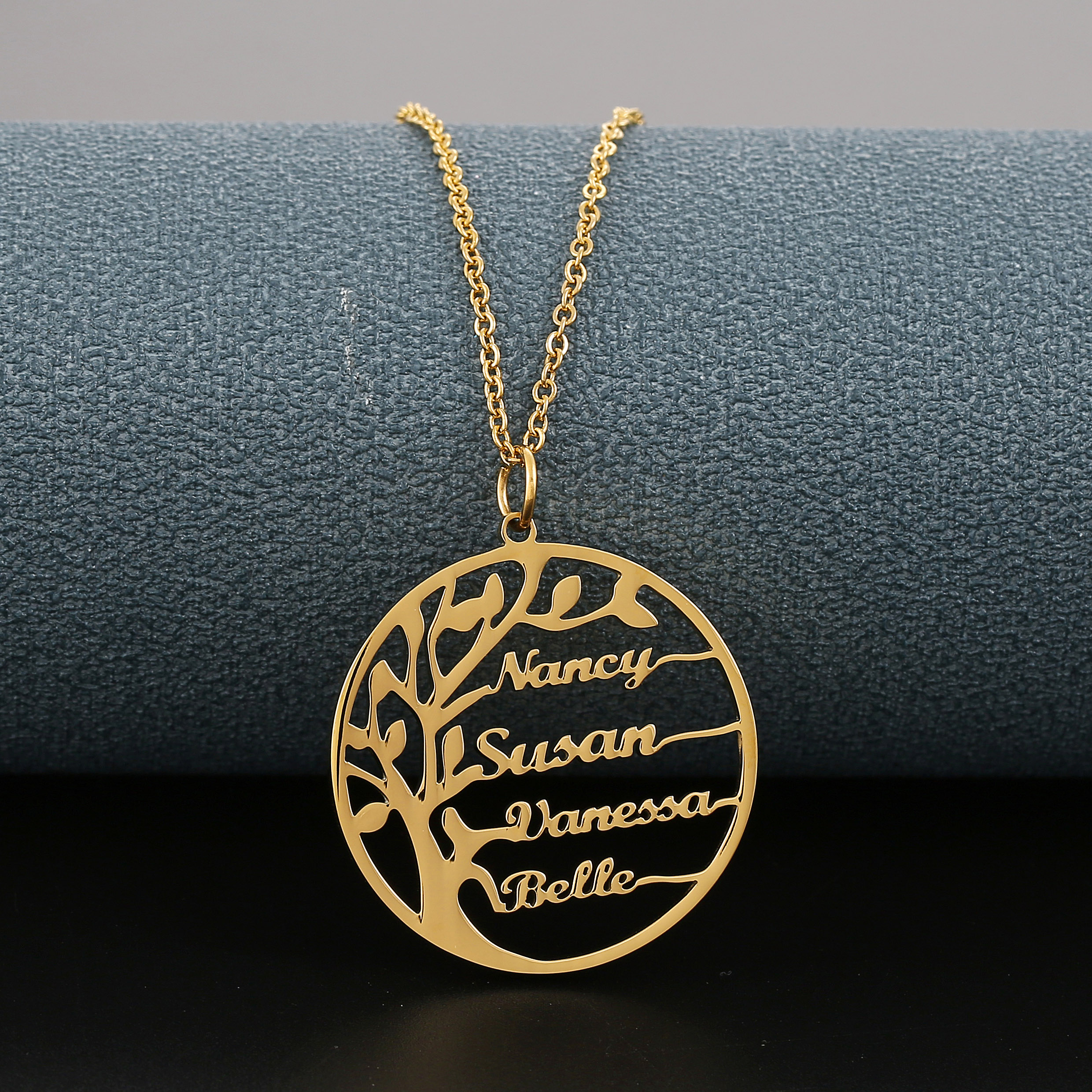 Custom Name Necklace Women Tree of Life Necklace Stainless Steel Personalized Letter Necklace Nameplate Family Jewelry Gifts