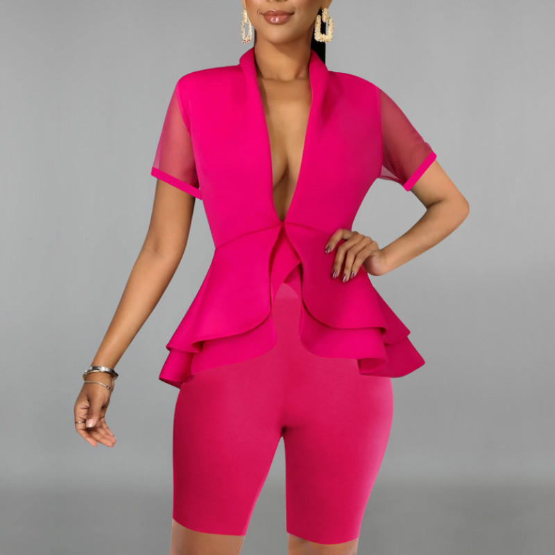 Women 2 Pieces Set Shorts Suit Sexy V Neck Short Sleeves Patchwork Mesh Peplum Bodycon Tight Casual Fashion Summer New Female