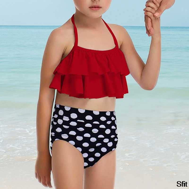Mode Passenden Familie Mutter Mädchen Bikini 2020 Badeanzug Bademode Frauen Badeanzug Kinder Baby Kind Strand Bademode Biquini