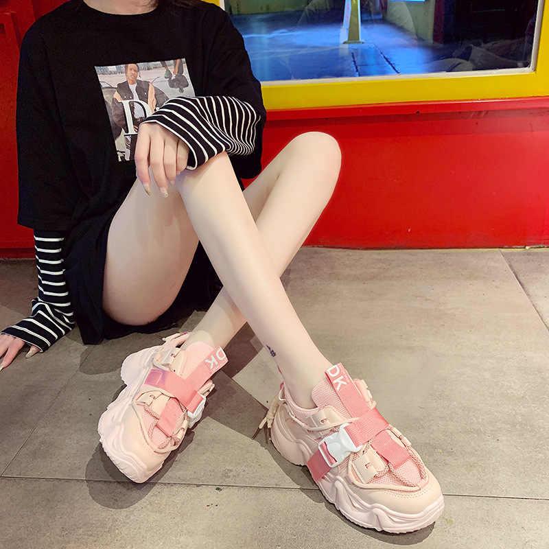 Rimocy Vàng Chun Nền Tảng Sneakers Nữ Mùa Thu 2020 Cao Nền Tảng Giày Người Phụ Nữ Đáy Dày Khóa Vulcanize Giày