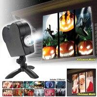 Lampada per proiezione natalizia LED proiettore per Festival di Halloween faretti per luci di inondazione forniture per feste luce per finestre a più Scene