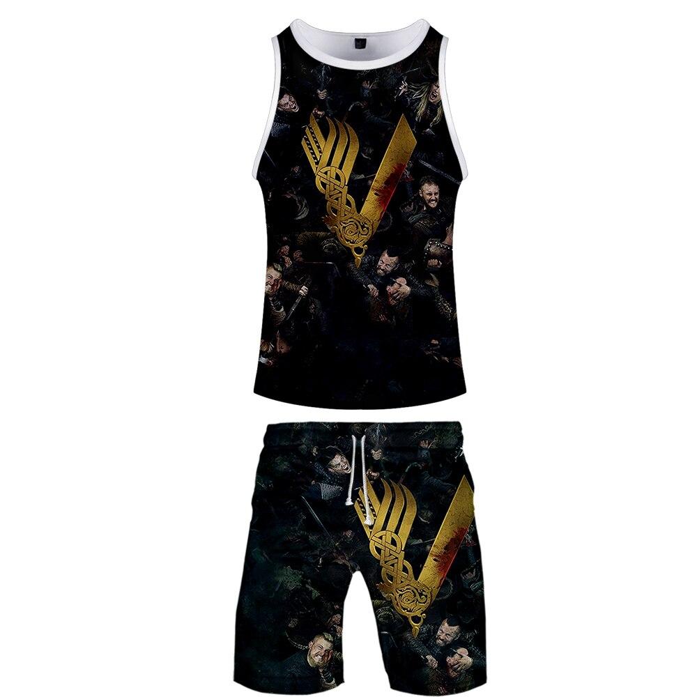 2019 Viking Two Piece Set Tank Top And Shorts Harajuku Men Viking Tank Top Streetwear Basketball Sleeveless Streetwear Plus Size
