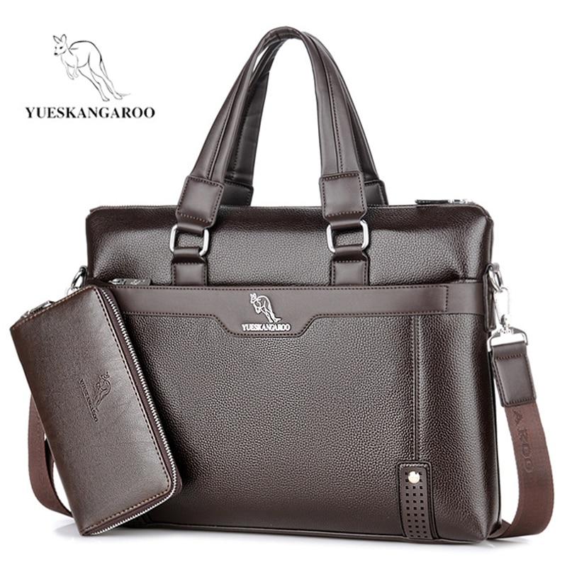 YUESKANGAROO Men Bag Casual Briefcase Shoulder Bags Business Male Laptop Handbag Vintage Leather Crossbody Messenger Bag