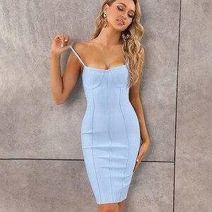 Image 3 - Vestido de verano ceñido con tirantes, rosa y azul