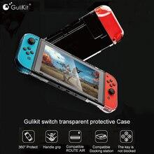 Gulikit NS17 için şeffaf kristal kılıf Nintendo anahtarı Lite NS anahtarı 360 koruyucu kabuk ile uyumlu rota hava Dock